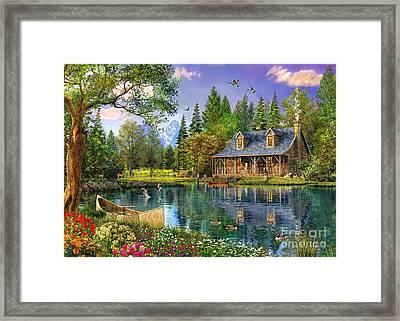 Crystal Lake Cabin Framed Print by Dominic Davison
