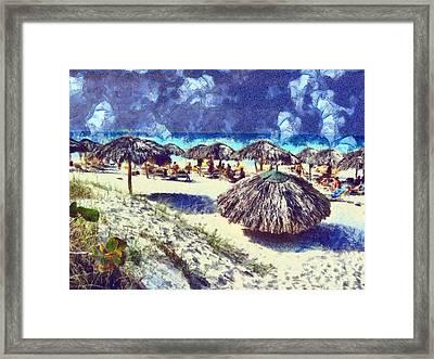 Cuban Beach Framed Print by Odon Czintos