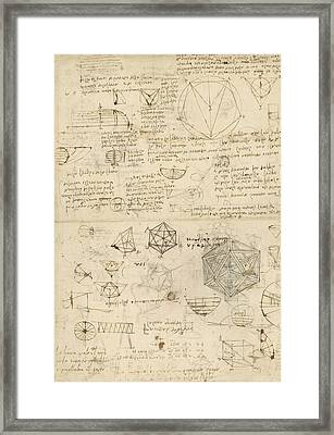 Cube Sphere Icosahedron Mention Of Known Project For Telescope  Framed Print by Leonardo Da Vinci