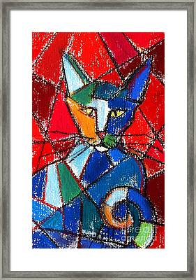 Cubist Colorful Cat Framed Print by Mona Edulesco