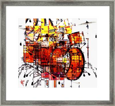 Cubist Drums Framed Print by Russell Pierce
