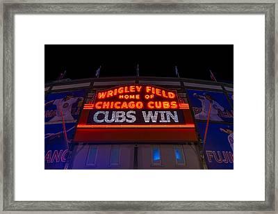 Cubs Win Framed Print by Steve Gadomski