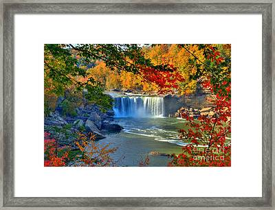 Cumberland Falls In Autumn 2 Framed Print by Mel Steinhauer