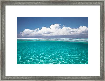 Cumulus Clouds Over Sea, Aqua Framed Print by Panoramic Images