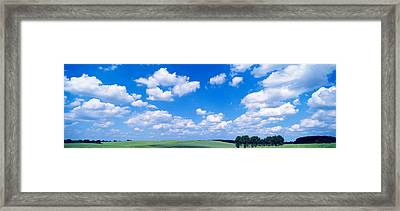 Cumulus Clouds With Landscape, Blue Framed Print by Panoramic Images