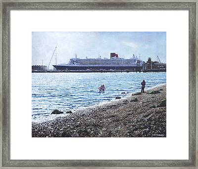 Cunard Queen Mary As Seen From Weston Shore Framed Print by Martin Davey