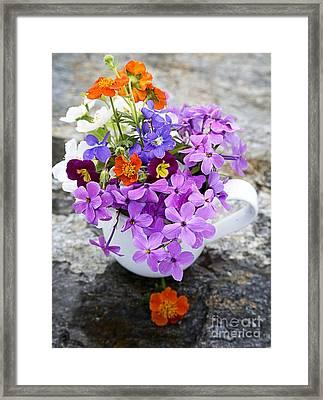 Cup Full Of Wildflowers Framed Print by Edward Fielding