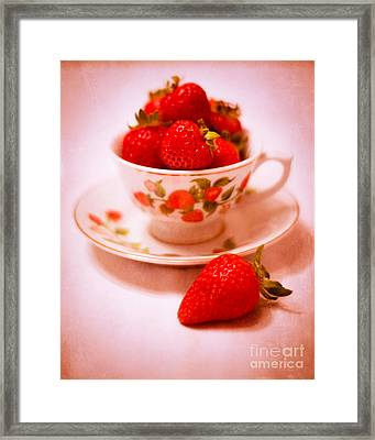 Cup Of Strawberries Framed Print by Sonja Quintero