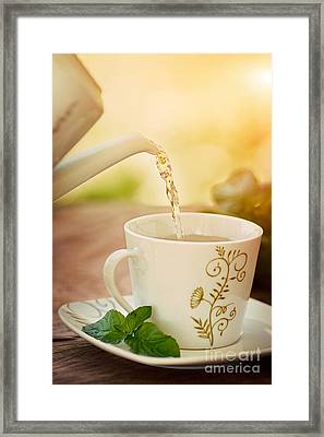 Cup Of Tea Framed Print by Mythja  Photography
