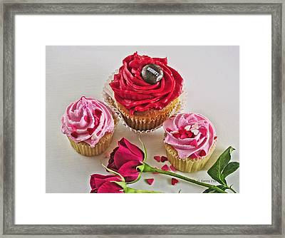 Cupcakes And Roses Framed Print by Kenny Francis
