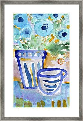 Cups And Flowers-  Watercolor Floral Painting Framed Print by Linda Woods