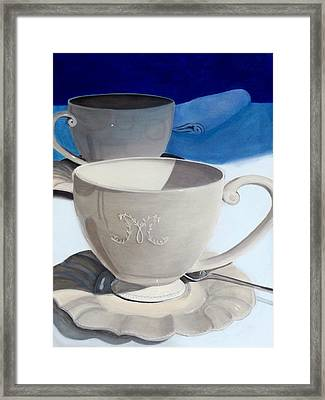 Cups Of Coffee In A Quiet Room Framed Print by Karyn Robinson