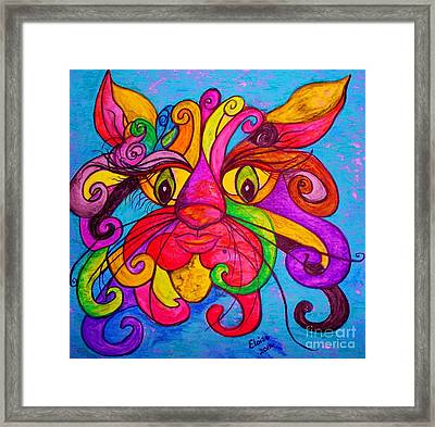Curly Cat Love Framed Print by Eloise Schneider