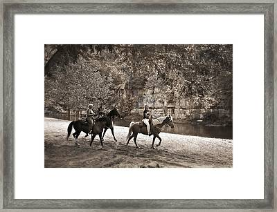 Current River Horses Framed Print by Marty Koch