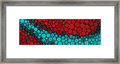 Currents - Red Aqua Art By Sharon Cummings Framed Print by Sharon Cummings