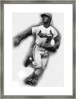 Curt Flood Framed Print by Anthony Caruso