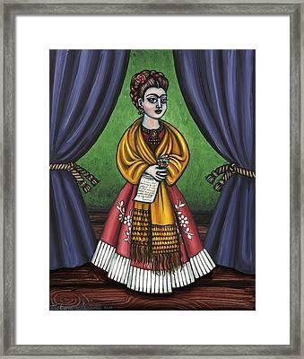 Curtains For Frida Framed Print by Victoria De Almeida