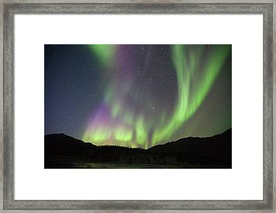 Curtains Of Brightly Colored Aurora Framed Print by Hugh Rose