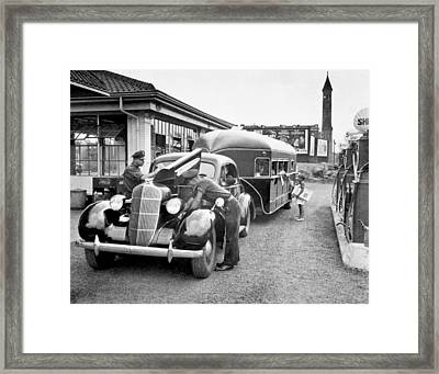 Curtis Aerocar Gets Gas Framed Print by Underwood Archives
