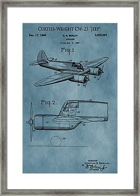 Curtiss-wright Patent Blue Framed Print by Dan Sproul