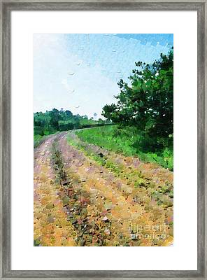 Curved Road Painting Framed Print by George Fedin and Magomed Magomedagaev