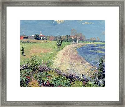 Curving Beach Framed Print by William James Glackens
