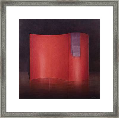 Curving Red Lacquer Screen Framed Print by Lincoln Seligman