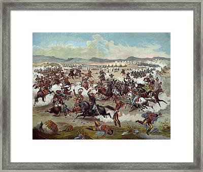 Custer's Last Charge Framed Print by Unknown