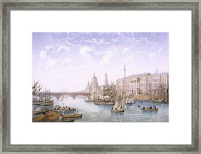 Custom House And London Bridge, 1862 Framed Print by Achille-Louis Martinet