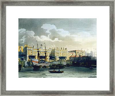Custom House From The River Thames Framed Print by T. & Pugin, A.C. Rowlandson