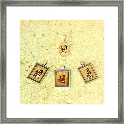 Custom Parent's Amulet Egyptian Papyrus Necklace Framed Print by Pet Serrano