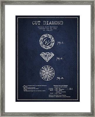 Cut Diamond Patent From 1966 - Navy Blue Framed Print by Aged Pixel