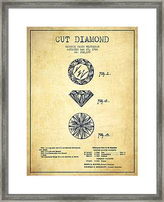 Cut Diamond Patent From 1966 - Vintage Framed Print by Aged Pixel