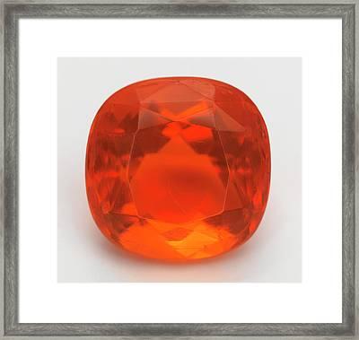 Cut Fire Opal Gemstone Framed Print by Dorling Kindersley/uig