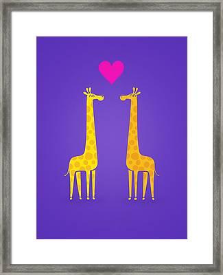 Cute Cartoon Giraffe Couple In Love Purple Edition Framed Print by Philipp Rietz