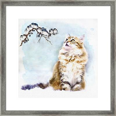 Cute Cat On The Lurk Framed Print by Marian Voicu