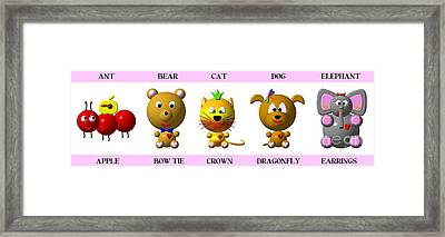 Cute Critters With Heart A To E In Pink Framed Print by Rose Santuci-Sofranko