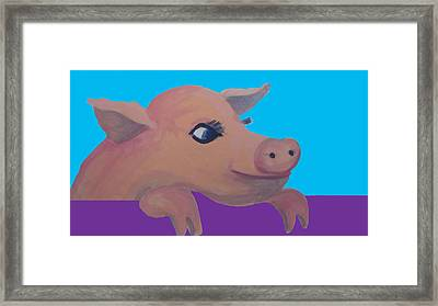 Cute Pig 1 Framed Print by Cherie Sexsmith