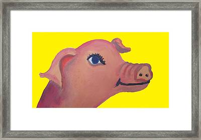 Cute Pig On Yellow Framed Print by Cherie Sexsmith