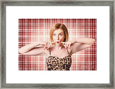 Cute Pin-up Woman Making A Cheeky Point Framed Print by Jorgo Photography - Wall Art Gallery