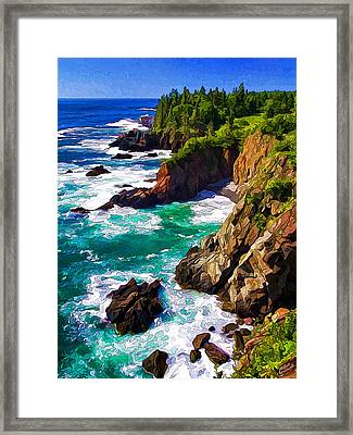 Cutler Coast White Water Framed Print by Bill Caldwell -        ABeautifulSky Photography