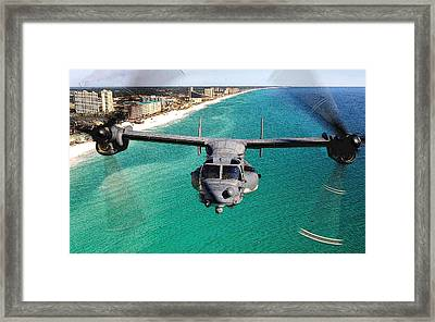 Cv 22 Osprey 8th Special Operations Over Emerald Coast Florida Framed Print by Senior Airman Julianne Showalter - L Brown
