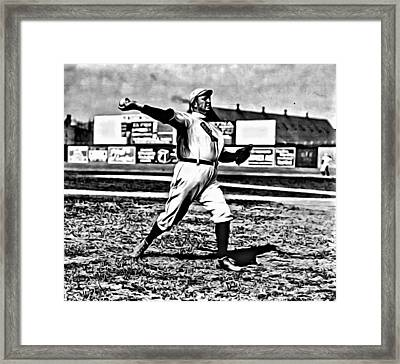 Cy Young Pitching Framed Print by Florian Rodarte