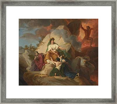 Cybele Opposing Vesuvius To Protect The Cities Of Stabia Framed Print by Celestial Images