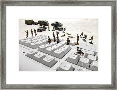Cyber Attack Framed Print by Olivier Le Queinec