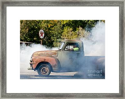 Cyclemos Rat Rod Burnout Pit  Framed Print by Wilma  Birdwell