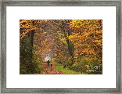 Cyclist And Dog Framed Print by Michele Steffey