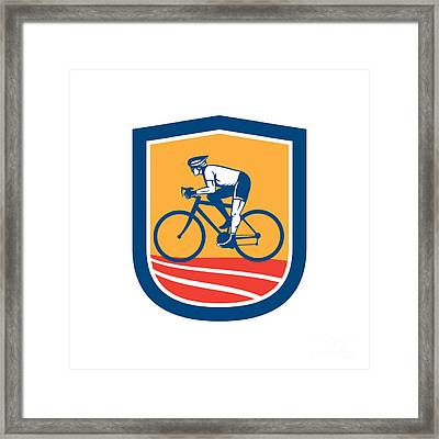 Cyclist Riding Bicycle Cycling Side View Retro Framed Print by Aloysius Patrimonio