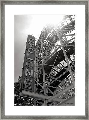 Cyclone Rollercoaster - Coney Island Framed Print by Jim Zahniser