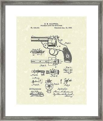 Cylinder Catch 1890 Patent Art Framed Print by Prior Art Design
